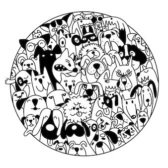 Doodle cães enfrenta fundo colorido, ilustração de mão desenhada de doodle