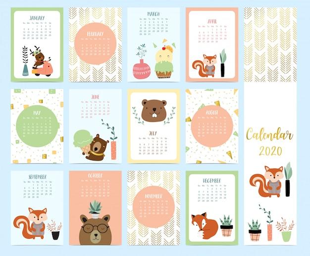 Doodle calendário animal 2020 conjunto com rena, raposa, esquilo, sorvete para crianças