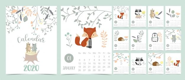 Doodle calendário de floresta pastel definido 2020 com raposa