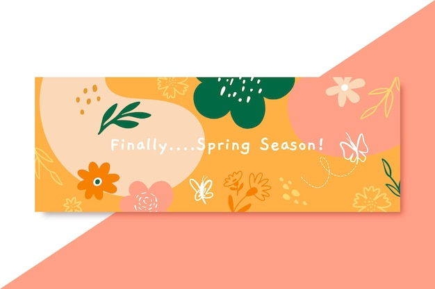 Doodle capa infantil do facebook da primavera