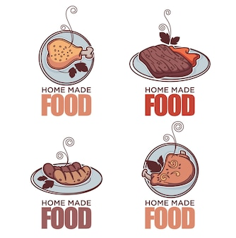 Doodle carne linear doodle coleção de logotipo