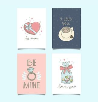 Doodle cartão de dia dos namorados