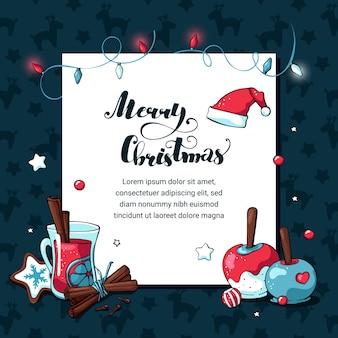 Doodle cartão de férias de natal com espaço reservado branco