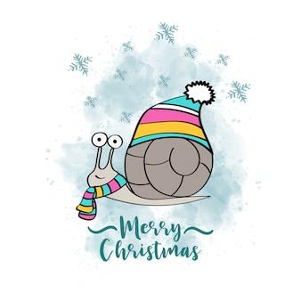Doodle cartão de natal com caracol vestido