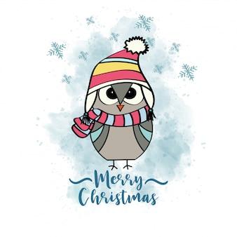 Doodle cartão de natal com coruja vestida