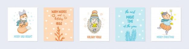 Doodle cartão de natal conjunto com animais fofos