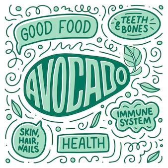 Doodle cartaz com letras sobre alimentos naturais, abacate