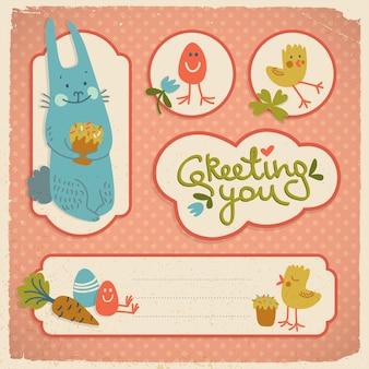 Doodle cartões de várias formas com ilustração vetorial de bolinhas isoladas com símbolos engraçados de páscoa