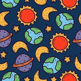 Doodle cartoon planeta design padrão sem emenda