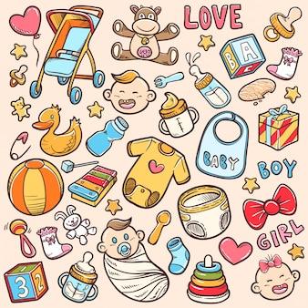 Doodle chá de bebê define vetor das ações ilustração para colorir