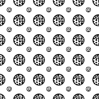 Doodle circunda padrão abstrato. cores em preto e branco.