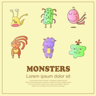 Doodle clássico dos desenhos animados monstros fofos