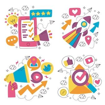 Doodle coleção de adesivos de marketing desenhados à mão