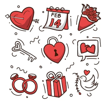 Doodle coleção de arte da ilustração dos desenhos animados do feriado do dia dos namorados