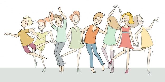 Doodle coleção de dançarinos dos desenhos animados