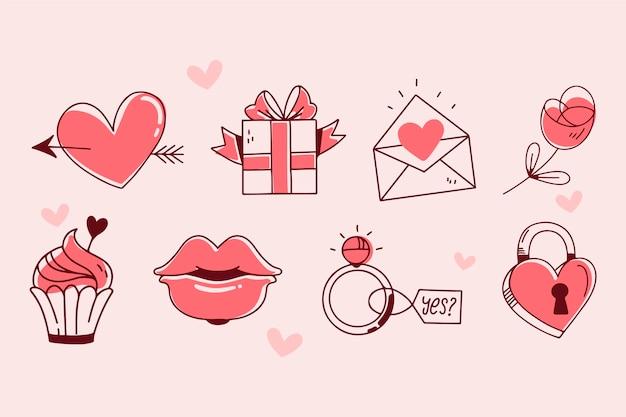 Doodle coleção de elementos de dia dos namorados