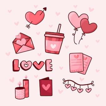 Doodle coleção de elementos do dia dos namorados