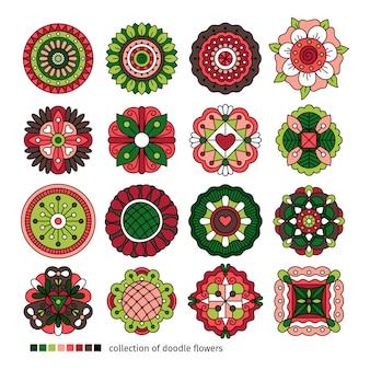 Doodle coleção de flores étnicas