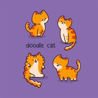 Doodle coleção de gatos fofos