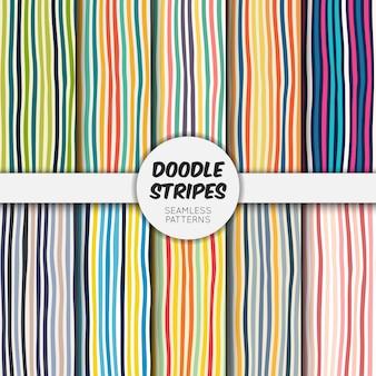 Doodle coleção de padrão sem emenda de listras