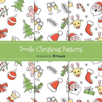 Doodle coleção padrão de natal