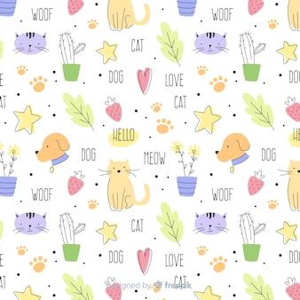 Doodle colorido animais domésticos e padrão de palavras