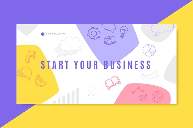 Doodle colorido cabeçalho do blog de negócios