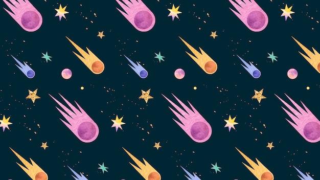 Doodle colorido de aquarela de galáxia com padrão sem emenda de cometas