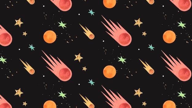Doodle colorido de aquarela de galáxia com padrão sem emenda de cometas Vetor grátis