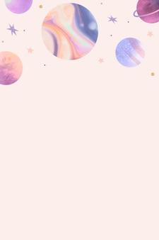 Doodle colorido de aquarela de galáxia em fundo pastel Vetor grátis