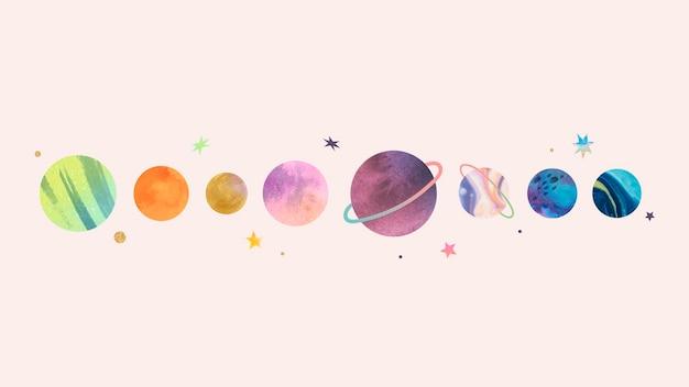 Doodle colorido de aquarela de galáxia