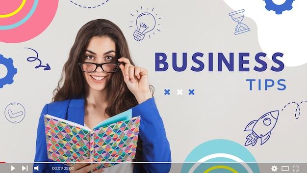 Doodle colorido de negócios em miniatura do youtube