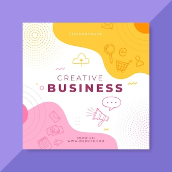 Doodle colorido de negócios no facebook post