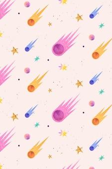 Doodle colorido em aquarela de galáxia com cometas
