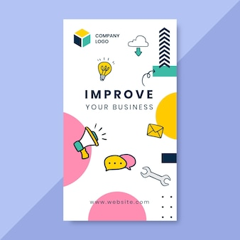 Doodle colorido história de instagram de negócios