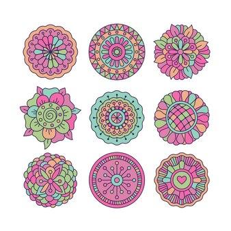 Doodle colorido redondo elementos florais