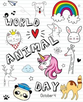 Doodle com gato cachorro pássaro urso unicórnio coelho e girafa dia mundial dos animais ilustração vetorial