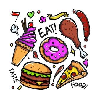 Doodle comida com cor