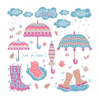 Doodle conjunto com guarda-chuvas, nuvens, nuvens de borracha. fundo isolado.