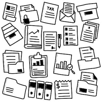 Doodle conjunto de arquivos e documentos