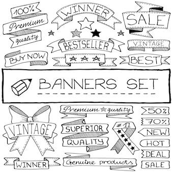 Doodle conjunto de banners desenhados à mão com linha preta
