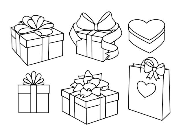 Doodle conjunto de caixas de presente