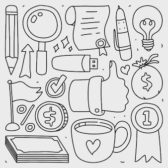 Doodle conjunto de coleta de elemento de negócios isolado