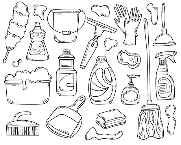 Doodle conjunto de elementos desenhados à mão e detergentes para limpeza.