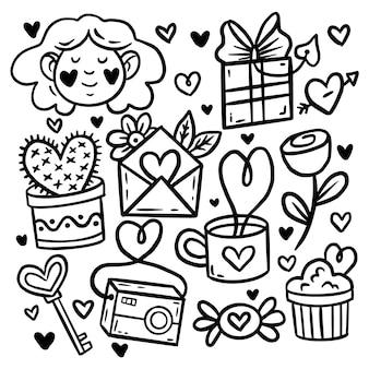 Doodle conjunto de elementos do dia dos namorados