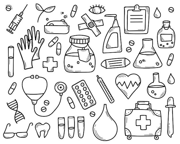 Doodle conjunto de elementos médicos mão desenhada.