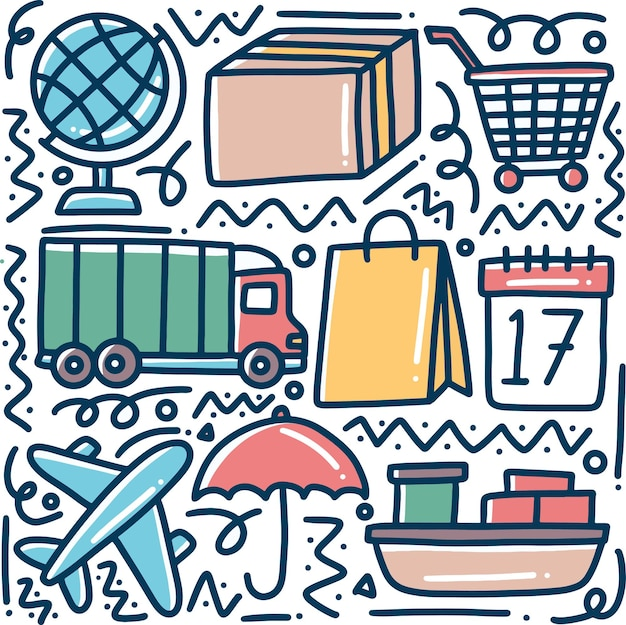 Doodle conjunto de entrega desenhada à mão e envio de compras online com ícones e elementos de design