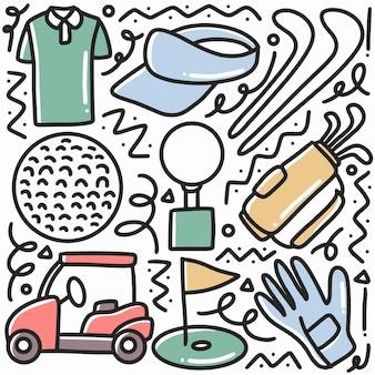 Doodle conjunto de esportes de golfe desenhados à mão com ícones e elementos de design