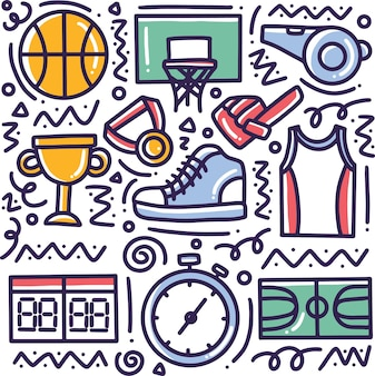 Doodle conjunto de esportes desenhados à mão com ícones e elementos de design