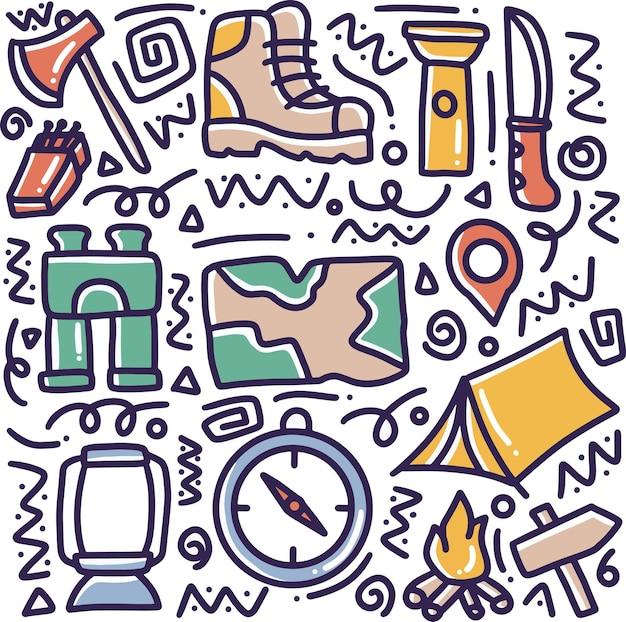 Doodle conjunto de ferramentas de acampamento desenhando à mão com ícones e elementos de design